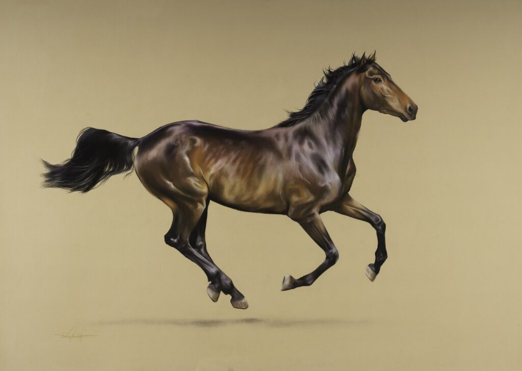 thoroughbred horse in pastel pencils with amazing colours
