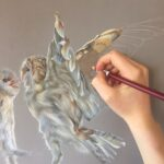 pastel pencil drawing of two barn owls